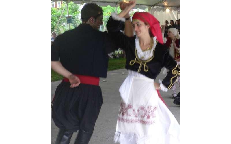 dancing in greek clothing