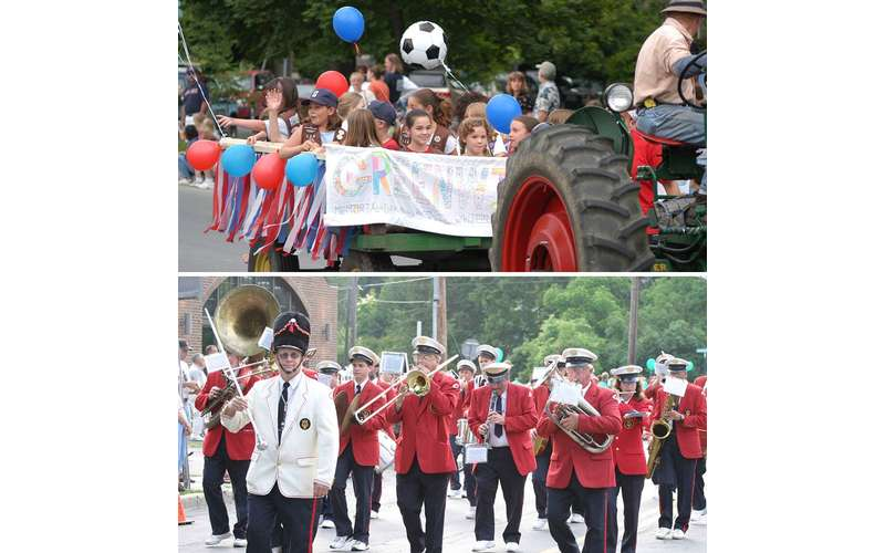 split image with kids marching on the top and a band marching on the bottom