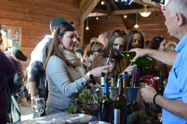 people at a wine tasting