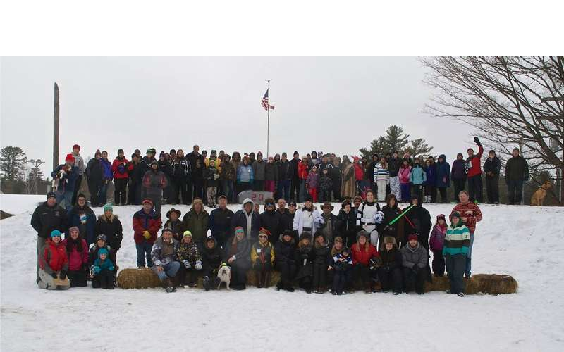 group outdoors in winter