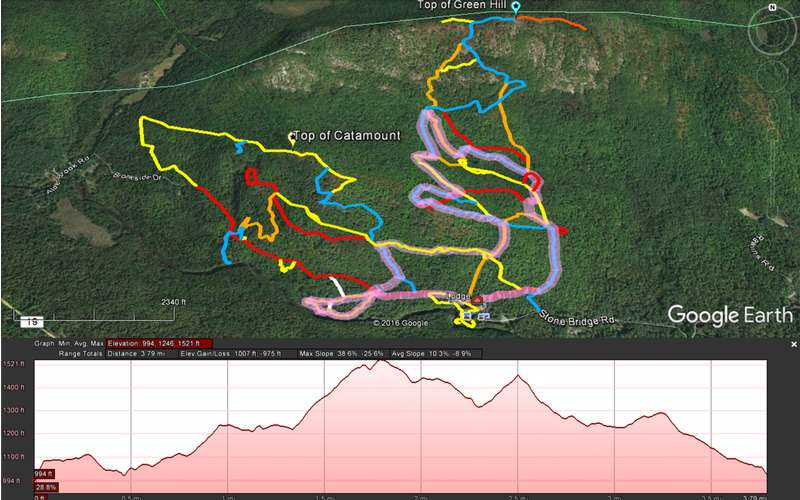 Map of the 6k Stone Bridge Caveman Snowshoe Race