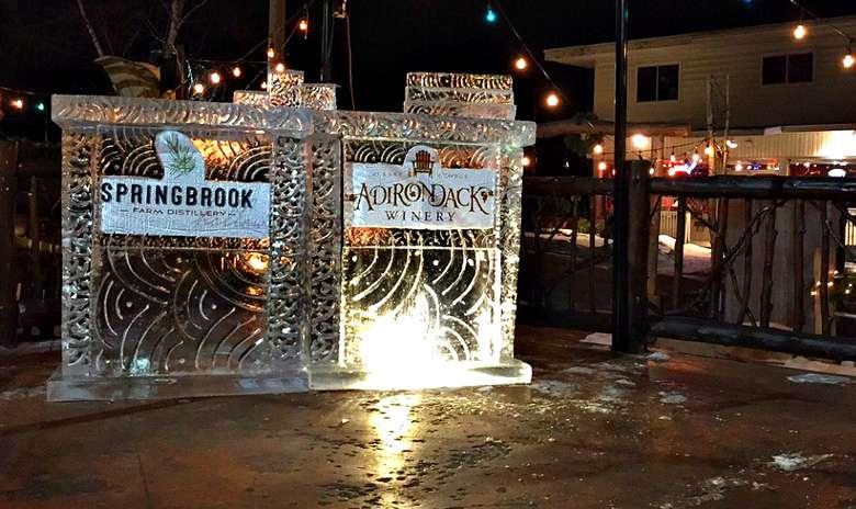 an ice bar at night