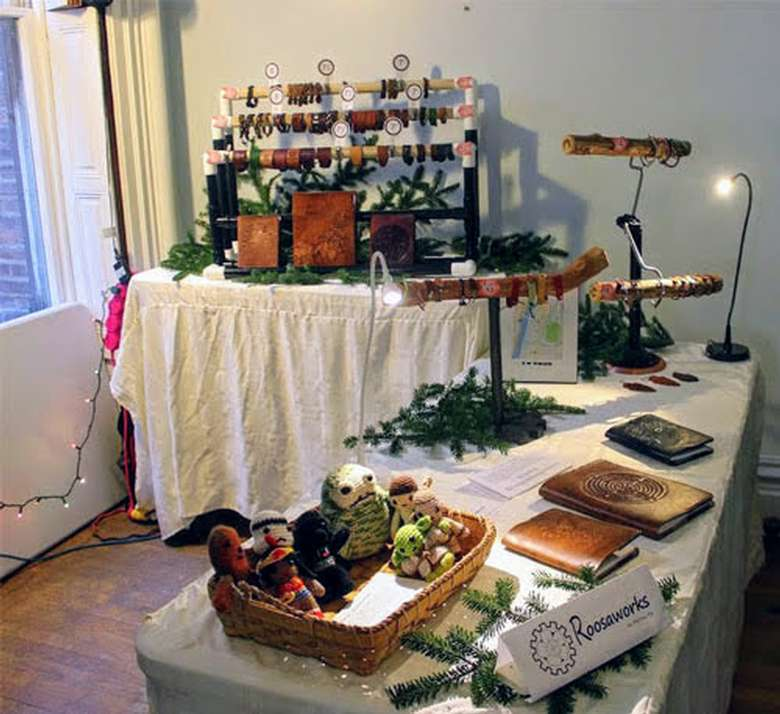 crafts and jewelry on display