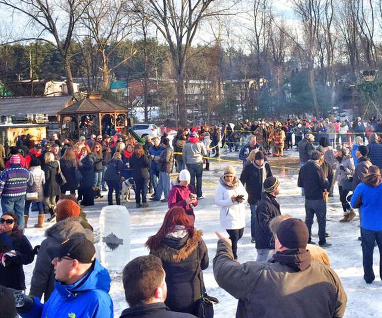 crowd at outdoor winter event