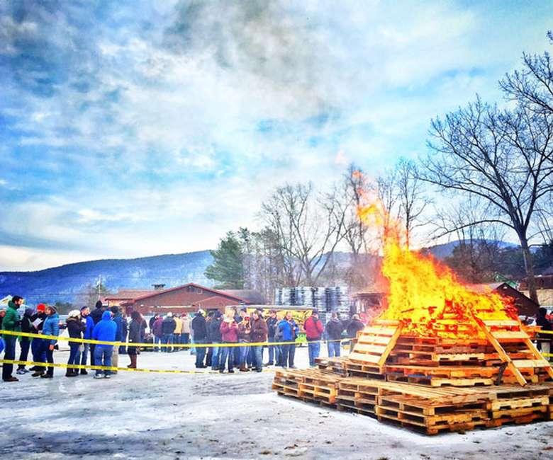 bonfire at winter event