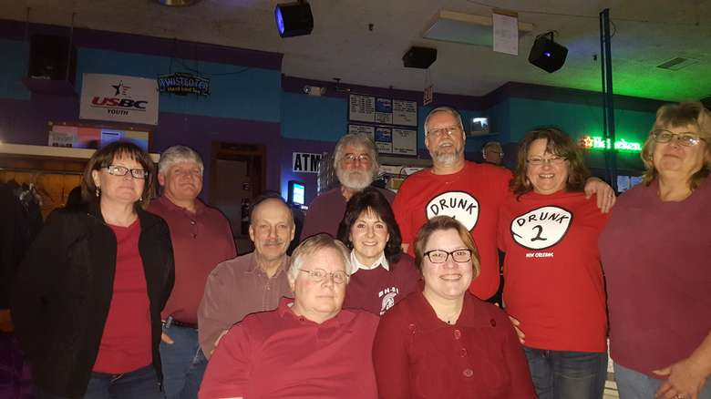 large group in a bowling alley