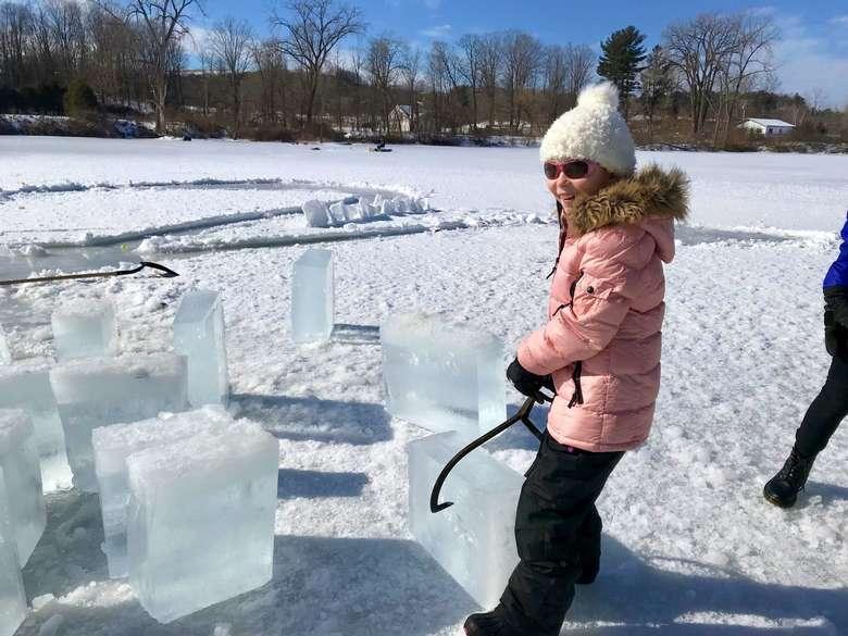 girl near ice blocks