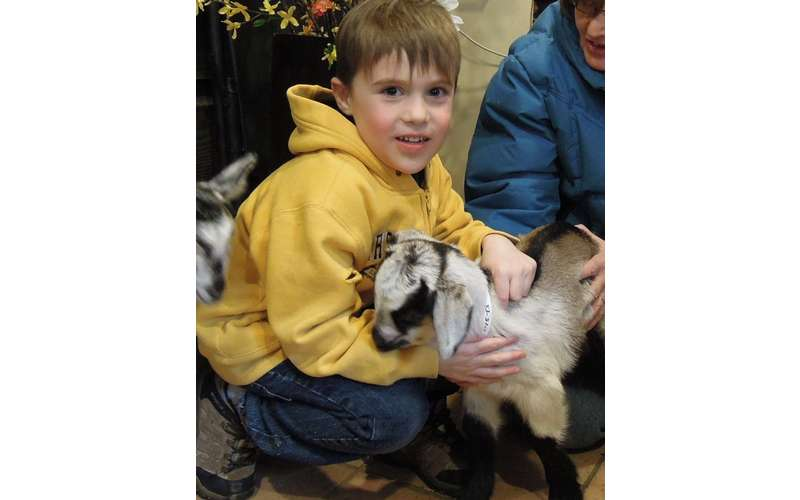 a little boy smiling with a goat