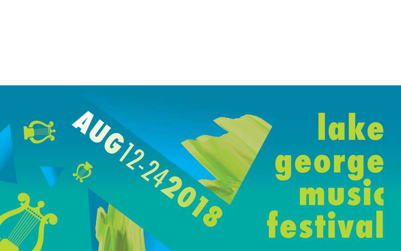 teal banner with &quote;lake george music festival