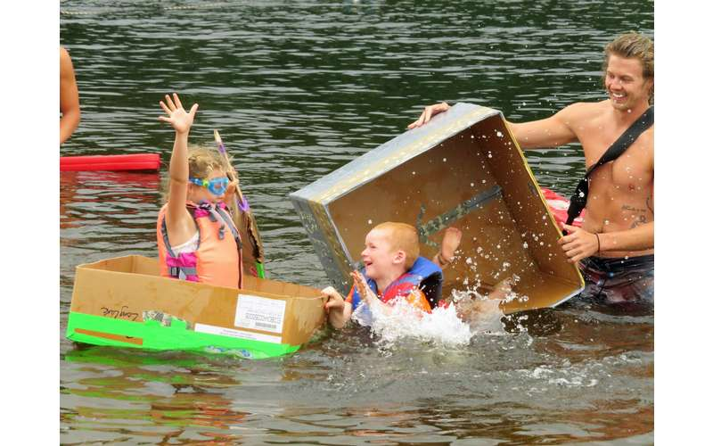 cardboard boxes in water