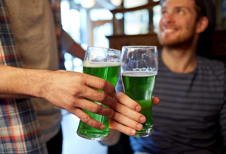 green beer in glasses