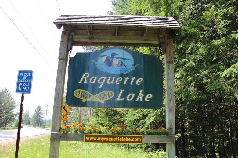 raquette lake sign