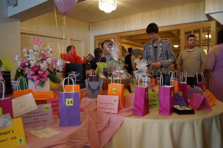 tables with gift bags