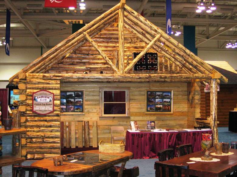 a timber home on display