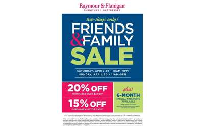 Raymour and Flanigan Friends and Family Sale Saturday