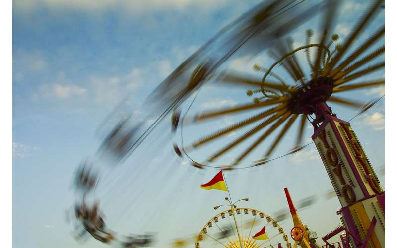 spinning amusement park ride at a county fair