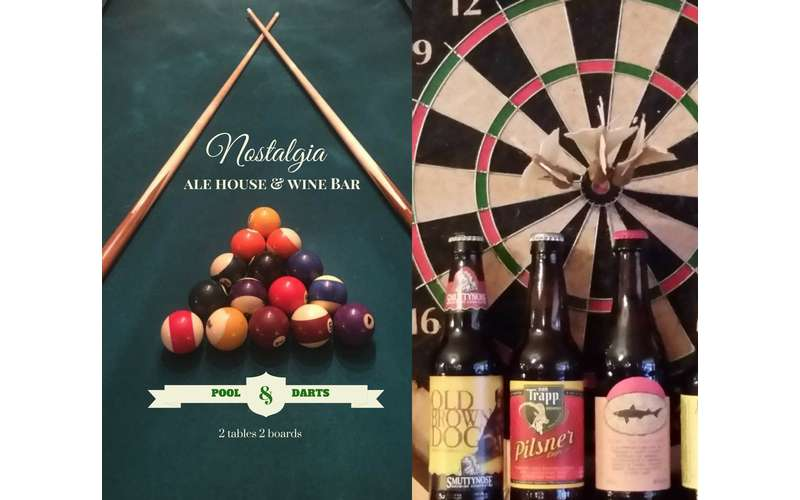 Pool and darts and unwind Daily Specials at Nostalgia Ale House & Wine Bar