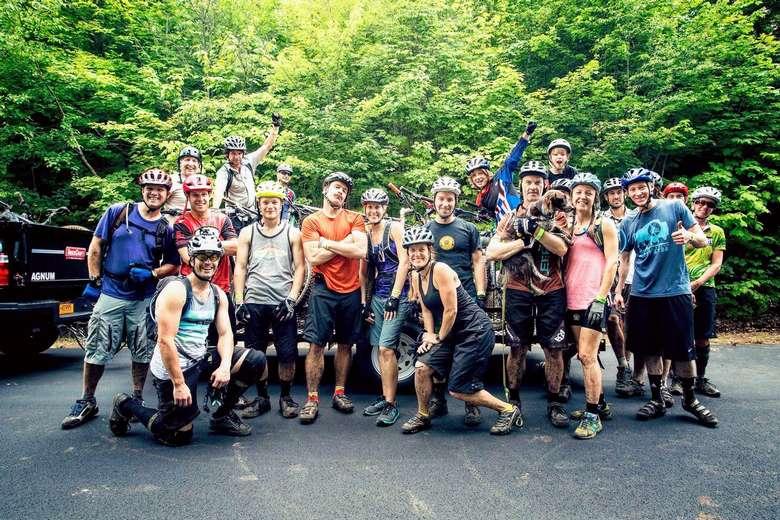 group of bikers posing