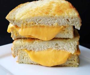 stacked grilled cheese sandwich