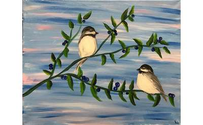 Blueberries for the Chickadees Paint & Sip