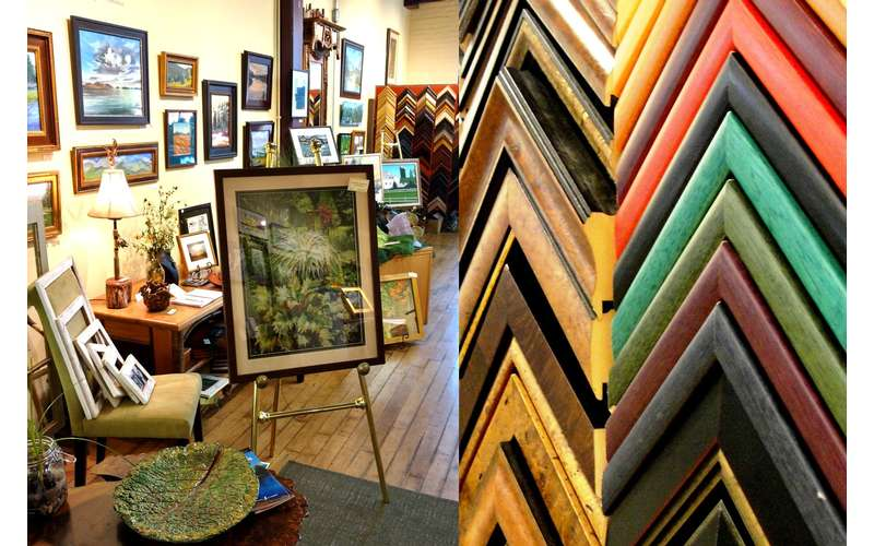 paintings and gifts in a gallery