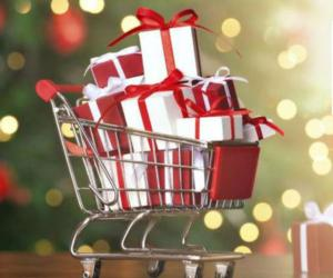 a cartoon shopping cart with gifts