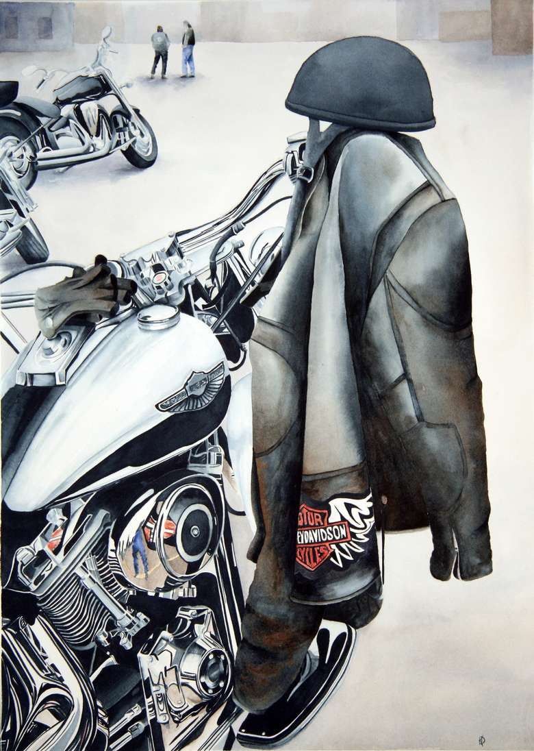 painting of motorcycle