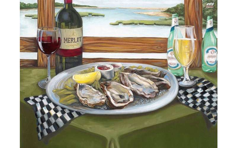 painting of a plate of oysters with wine