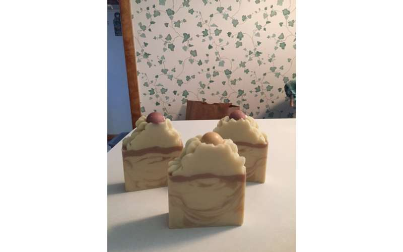 three soaps shaped like cupcakes