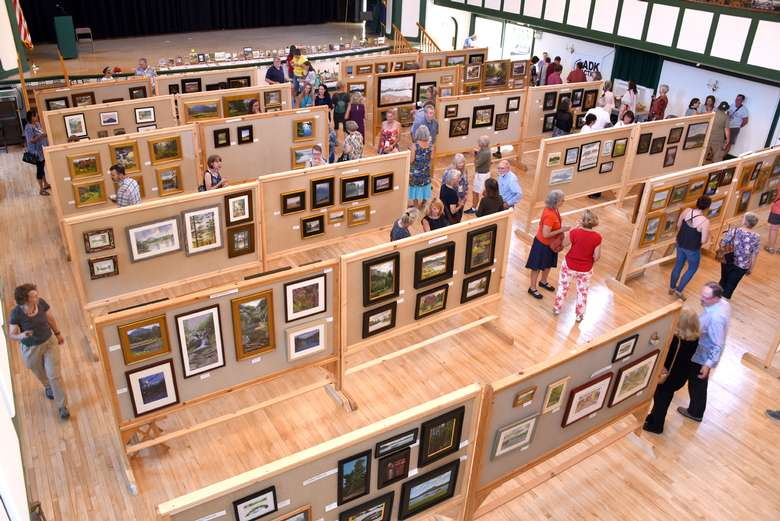 overhead view of a large gallery space