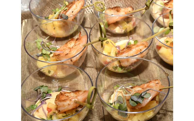 small bowls with shrimp
