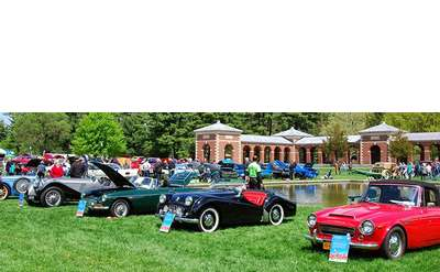 rows of cars at an outdoor auto show