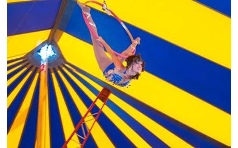 circus performers in a blue and yellow striped tent