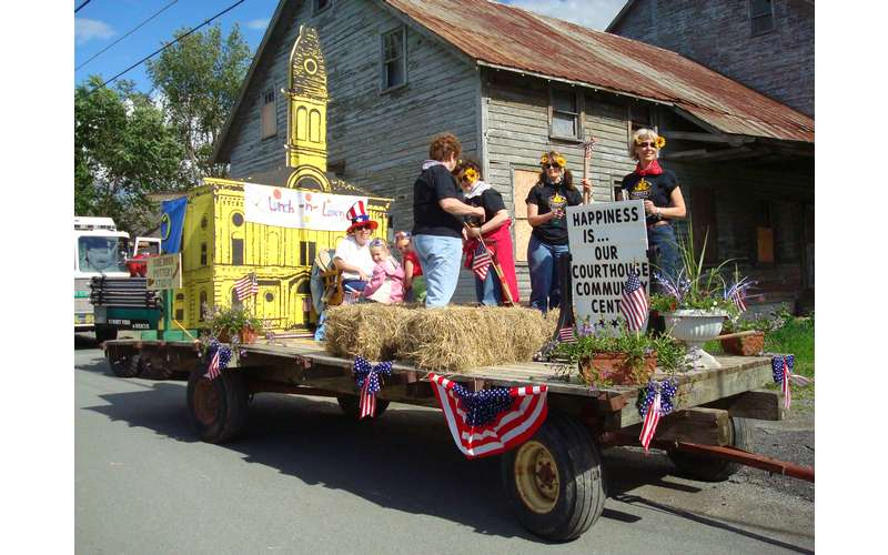 people on a float in a parade
