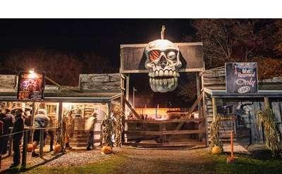 giant skull at entrance