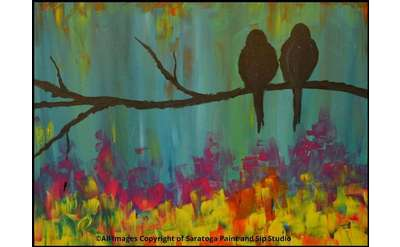 painting of two birds on a tree branch