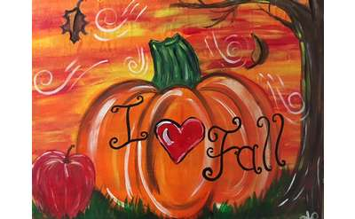 painting of a pumpkin that says I <3 fall