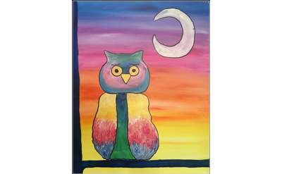 owl and moon painting