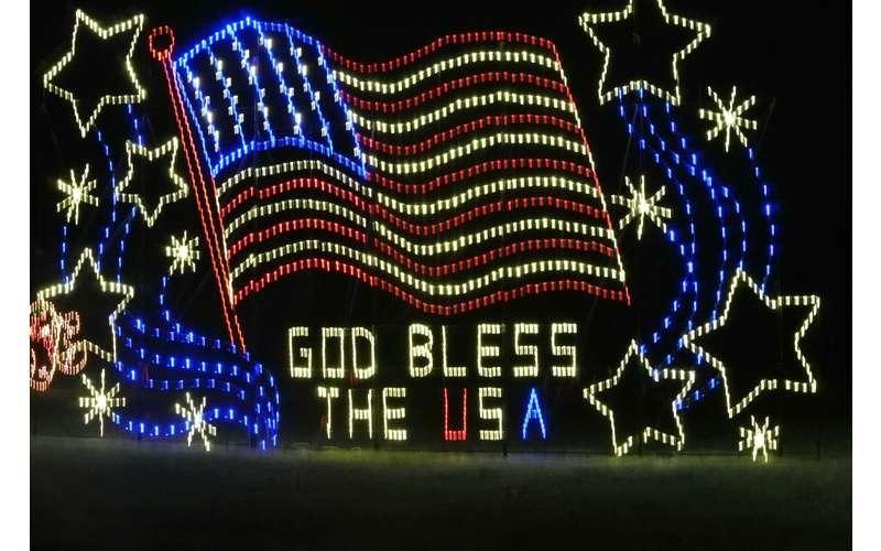 god bless usa holiday lights