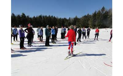 outdoor ski clinic in winter
