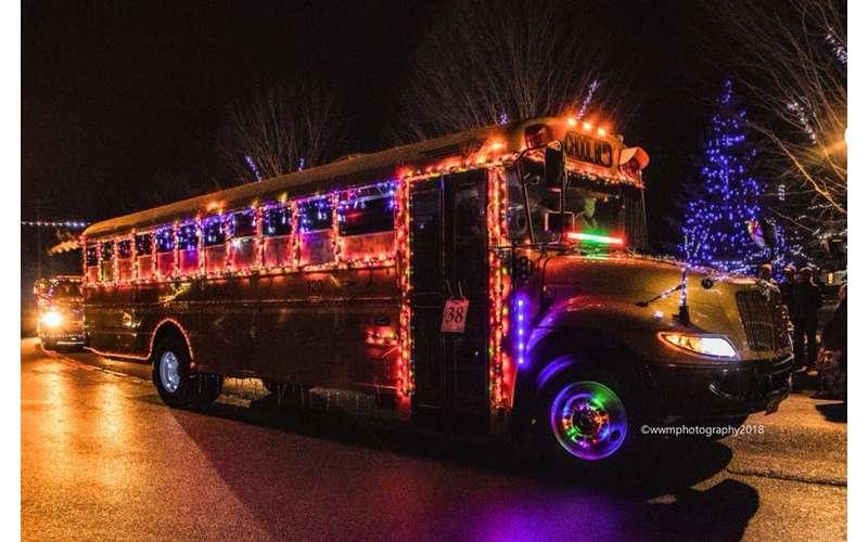 bus lit up