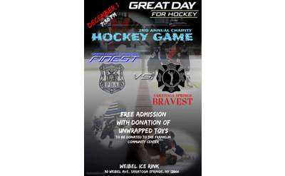 Poster for Saratoga Springs Firefighters vs. Police Charity Hockey Game