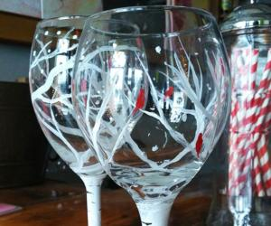 wine glasses painted like birch trees