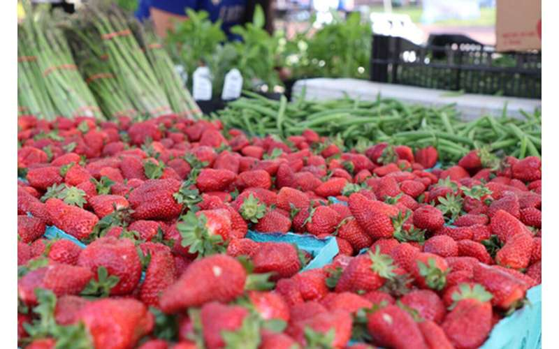 Photo of strawberries on stall