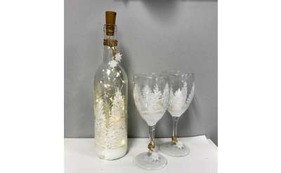 Winter Wine Bottle and Glass Set