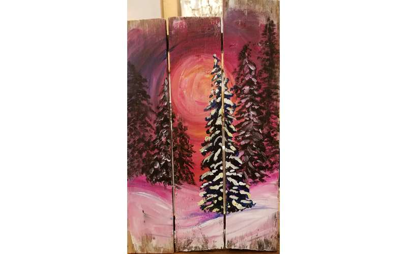 Winter Blood Moon Wood Pallet Painting (1)