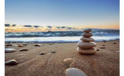 Rocks Stacked on the Beach Photo