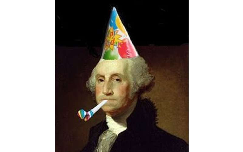 Picture of President George Washington wearing a Party Hat