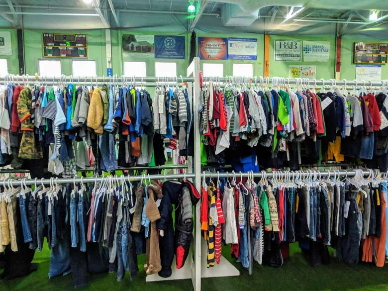 kids cloths on racks