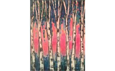 "Example painting of ""Spring Birch Trees"""